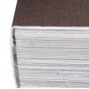 PUR-Klebebindung: Rücken des Buchblocks wird angeraut und mit Umschlag verleimt