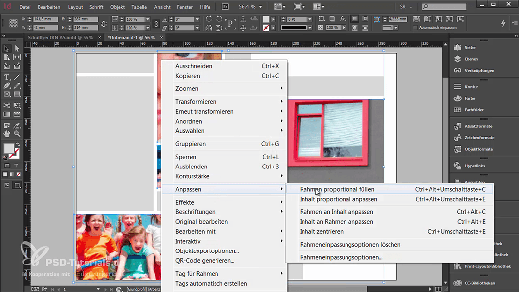 InDesign-Tutorial: Falzflyer - Bilder Rahmen proportional füllen