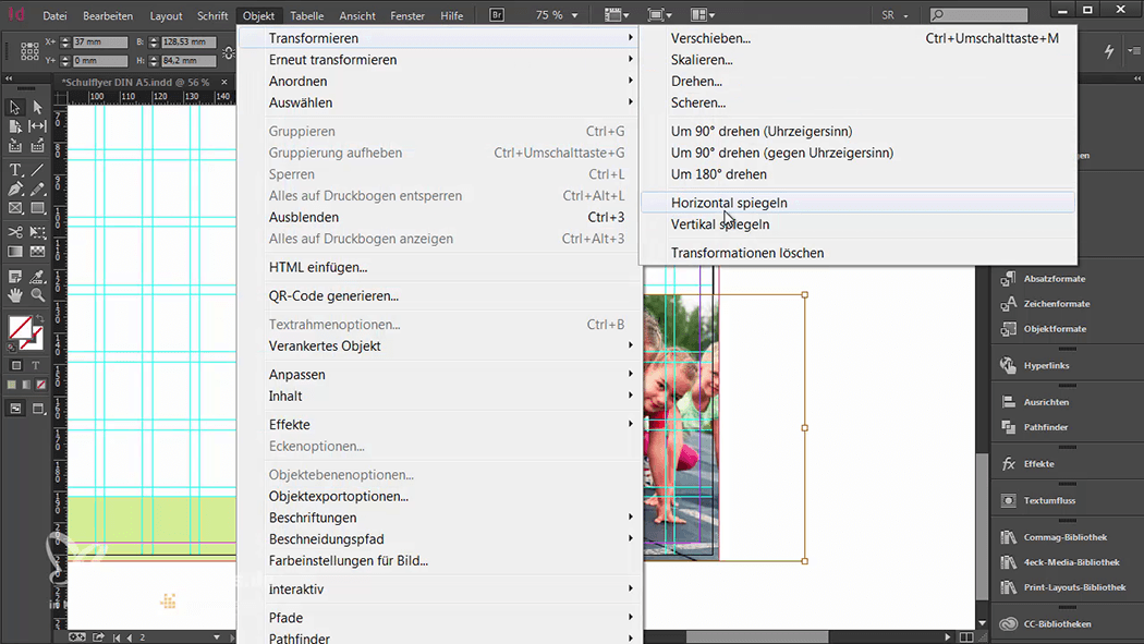 InDesign-Tutorial: Falzflyer - Bild horizontal spiegeln