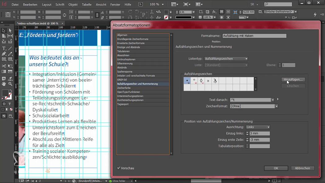 InDesign-Tutorial: Falzflyer - Absatzformat und neue Bulletpoints