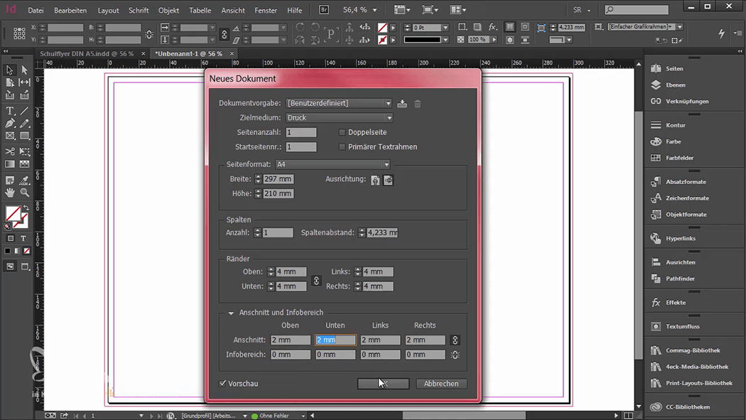 InDesign-Tutorial: Falzflyer - Dokument anlegen