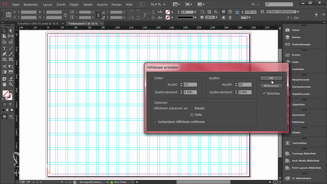 InDesign-Tutorial: Falzflyer - Gestaltungsraster anlegen