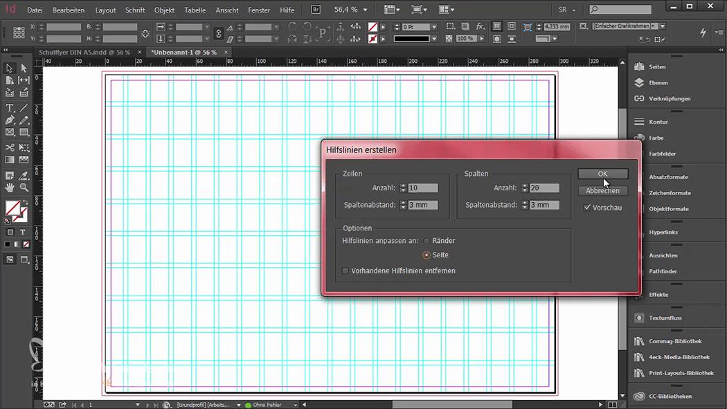 InDesign-Tutorial: Falzflyer - Gestaltungsraster anlegen