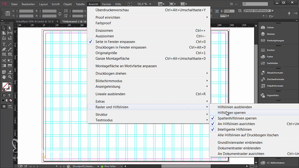 InDesign-Tutorial: Falzflyer - Hilfslinien sperren