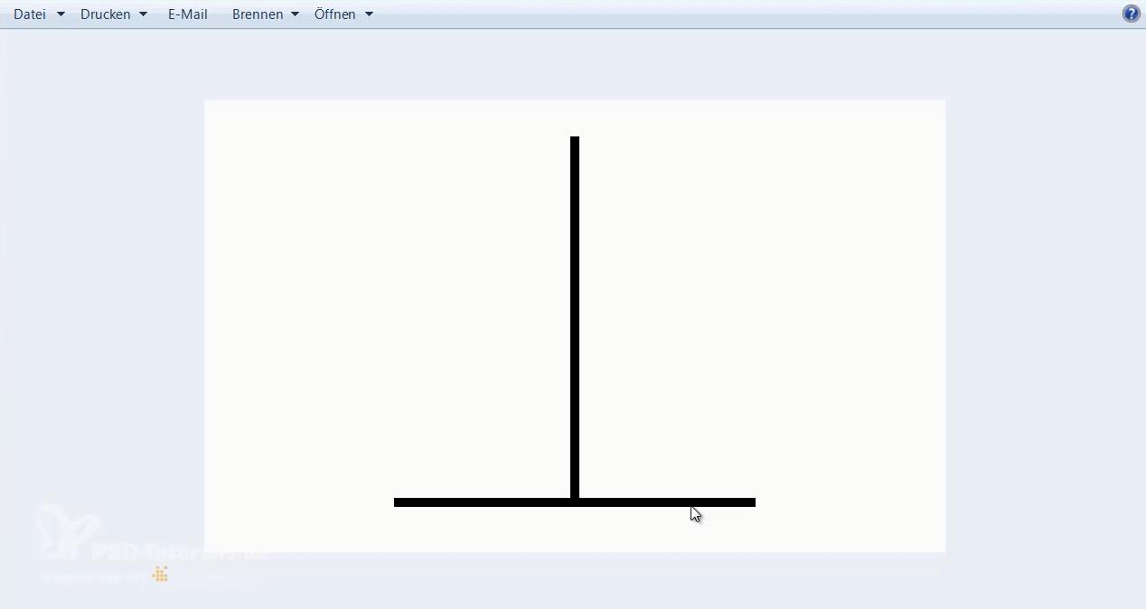 Vertikale Linien wirken länger als horizontale Linien. Daher ist eine Ausrichtung nach der optischen Mitte häufig besser als die Ausrichtung nach der rechnerischen Mitte.