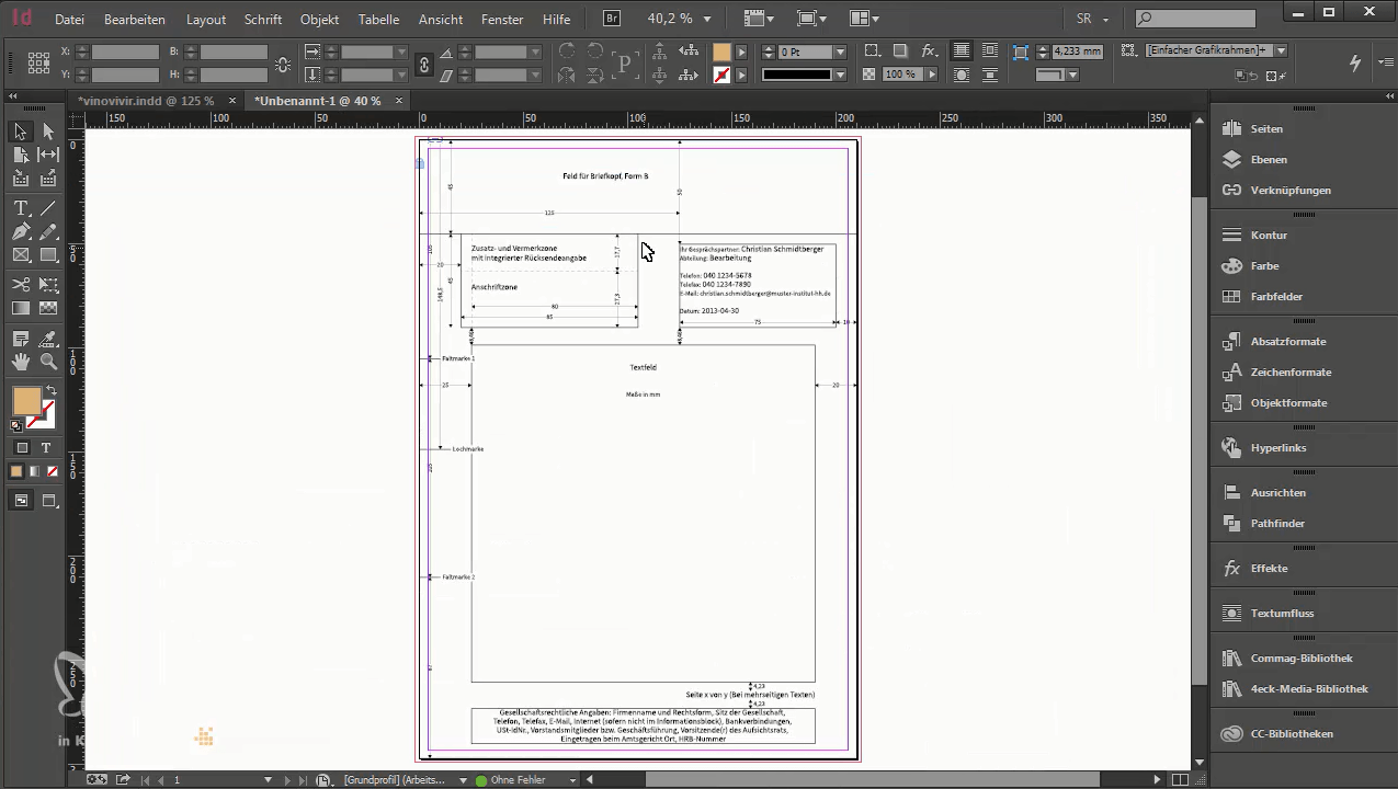 Briefpapier Vorlagen In Indesign Din 5008 Briefbogen Layouts