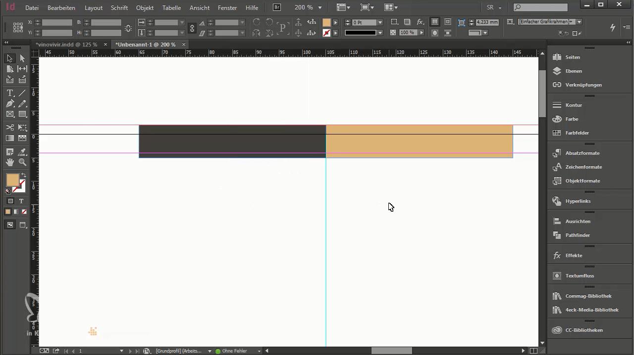 Mit zwei Farbfeldern schließt der Briefbogen oben optisch ab.