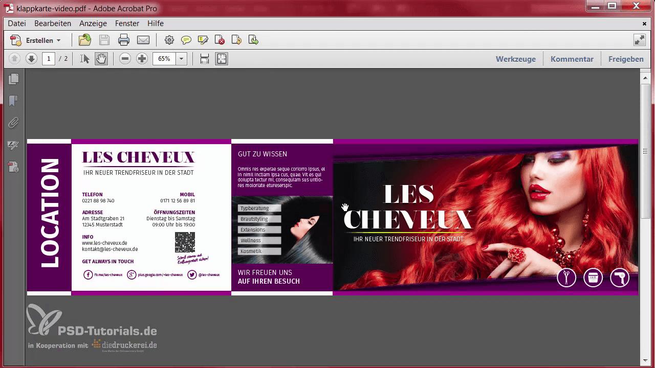 InDesign-Tutorial: Ansicht des Designs als PDF - Vorderseite und Rückseite