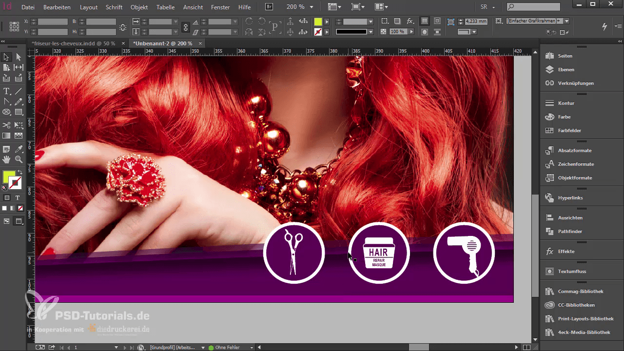 InDesign-Tutorial: Icons auf der Aufmacher-Seite der Klappkarte - Teil 1