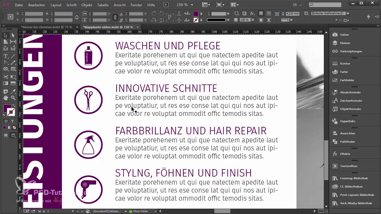 InDesign-Tutorial: Innenseiten Leistungen - Teil 6