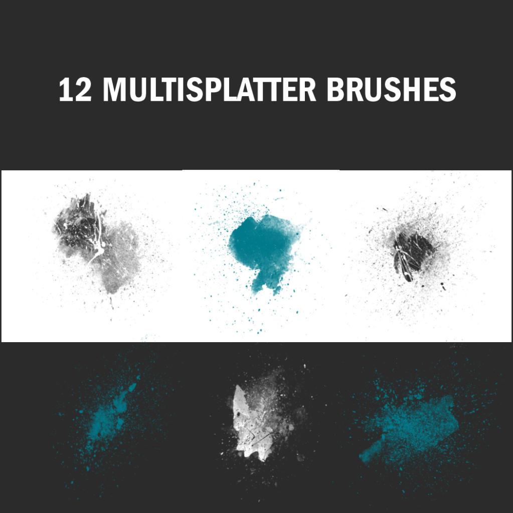Diese Multisplatter Brushes sind eine Kombination aus Aquarell und Farbspritzern.