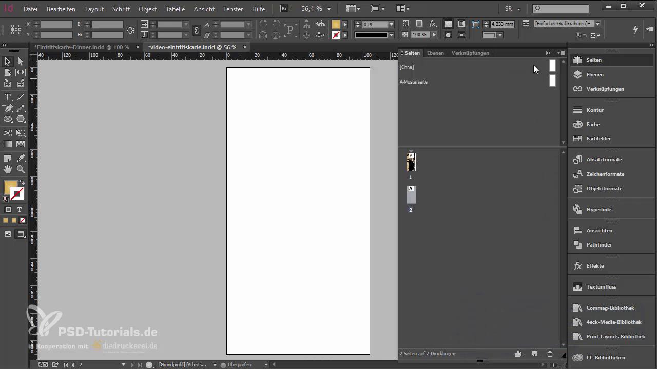 InDesign-Tutorial: Eintrittskarte mit Schwarzlicht-Farbe - Zweite Seite anlegen