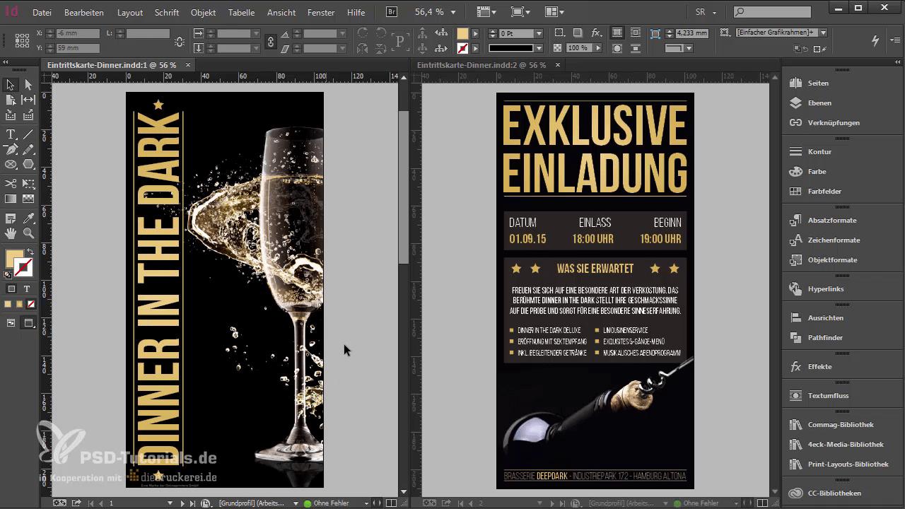 InDesign-Tutorial: Eintrittskarte mit Schwarzlichtfarbe - Designüberblick