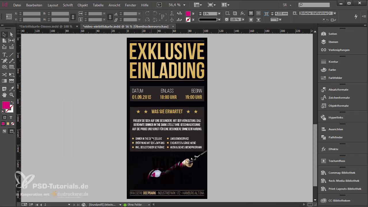 InDesign-Tutorial: Eintrittskarte mit Schwarzlicht-Farbe - Fertige Rückseite