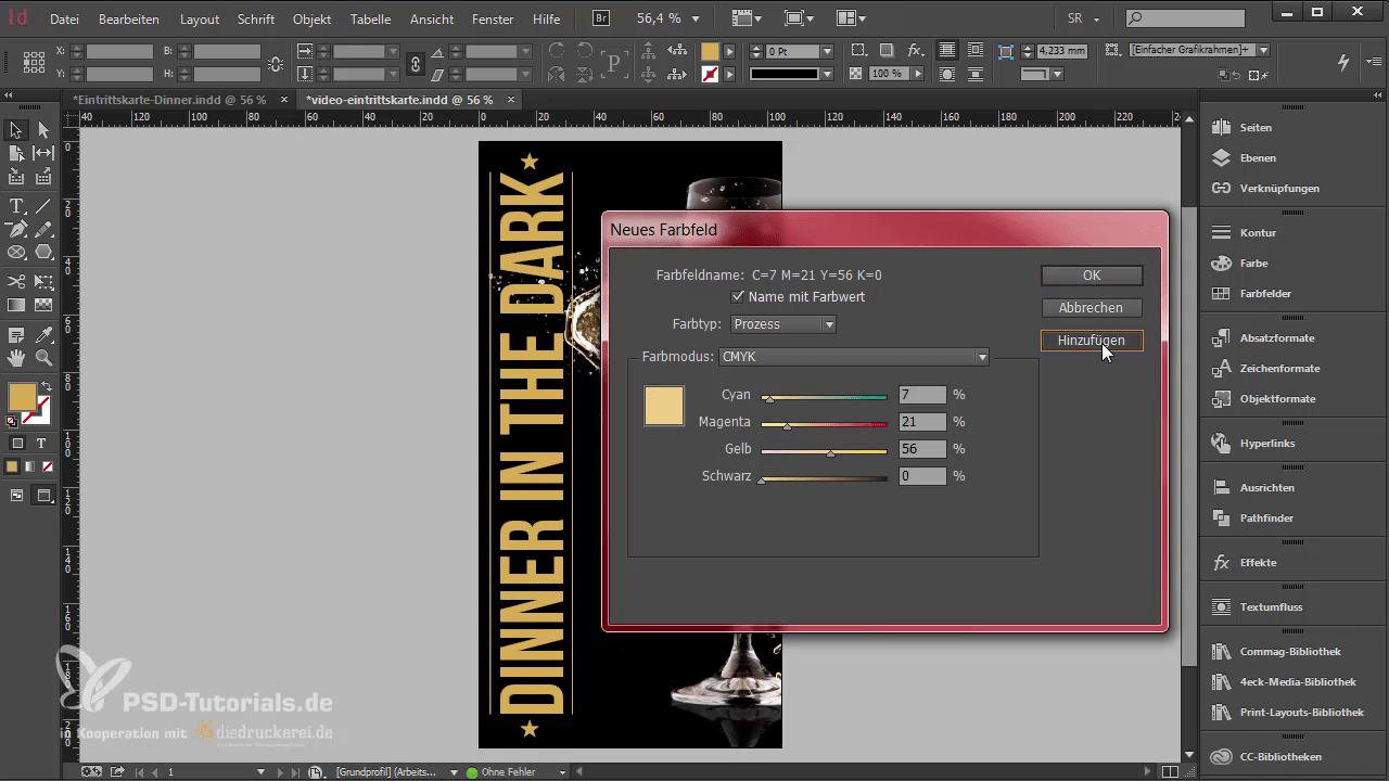 InDesign-Tutorial: Eintrittskarte mit Schwarzlicht-Farbe - Helles Gold