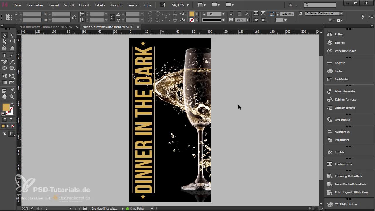 InDesign-Tutorial: Eintrittskarte mit Schwarzlichtfarbe - Schriftzug ohne Verlauf
