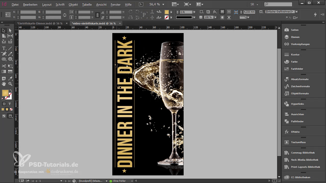InDesign-Tutorial: Eintrittskarte mit Schwarzlicht-Farbe - Schriftzug mit Goldverlauf