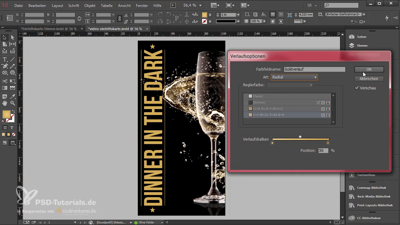 InDesign-Tutorial: Eintrittskarte mit Schwarzlicht-Farbe - Goldverlauf Parameter