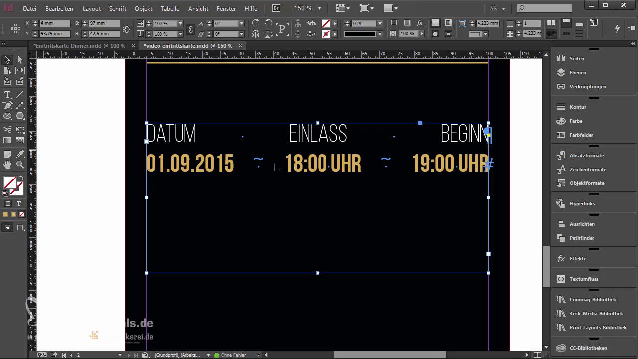 InDesign-Tutorial: Eintrittskarte mit Schwarzlicht-Farbe - Spaltenlayout