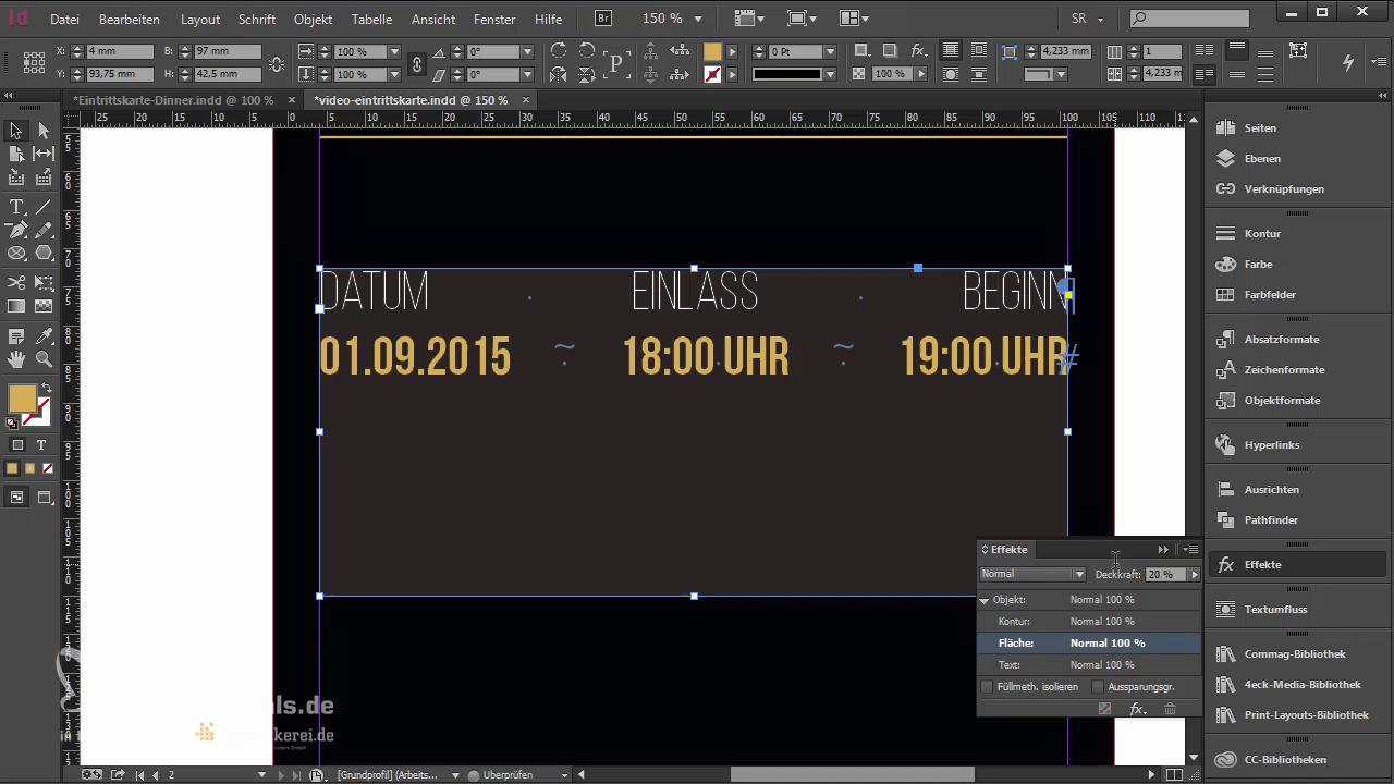 InDesign-Tutorial: Eintrittskarte mit Schwarzlicht-Farbe - Deckkraft reduzieren