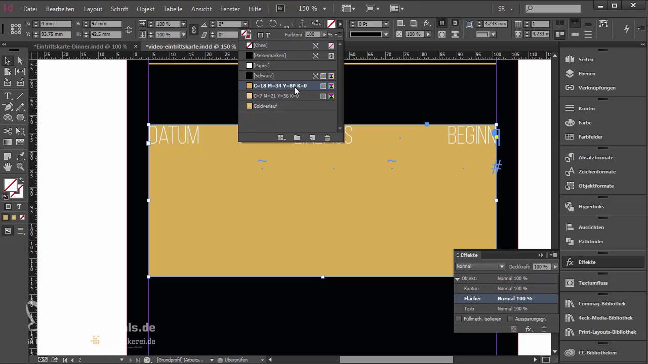 InDesign-Tutorial: Eintrittskarte mit Schwarzlicht-Farbe - Texthintergrund