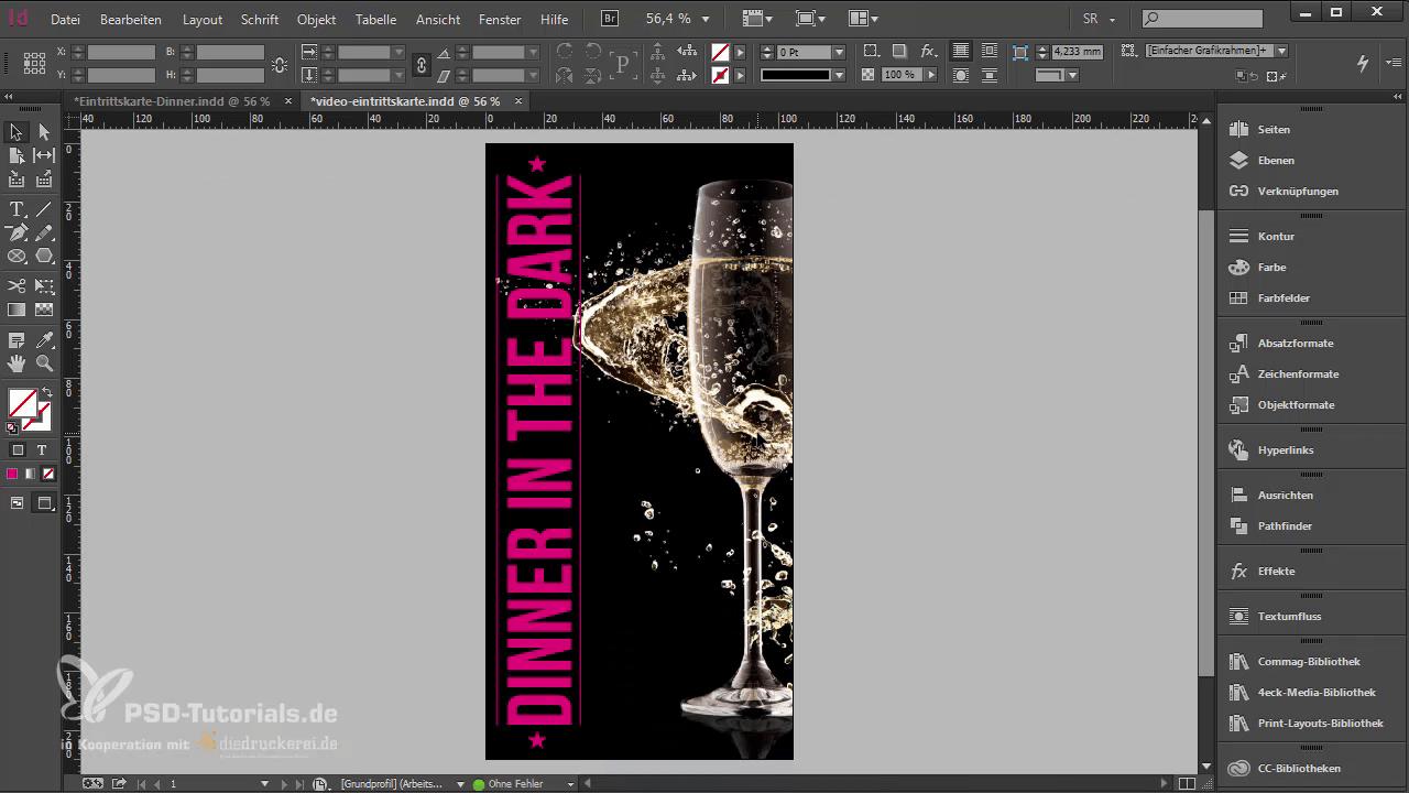 InDesign-Tutorial: Eintrittskarte mit Schwarzlichtfarbe - Titelkomposition