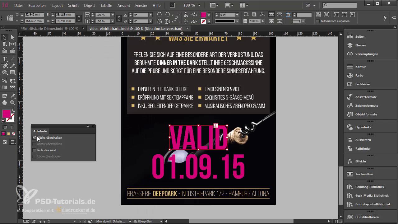 InDesign-Tutorial: Eintrittskarte mit Schwarzlicht-Farbe - Überdrucken