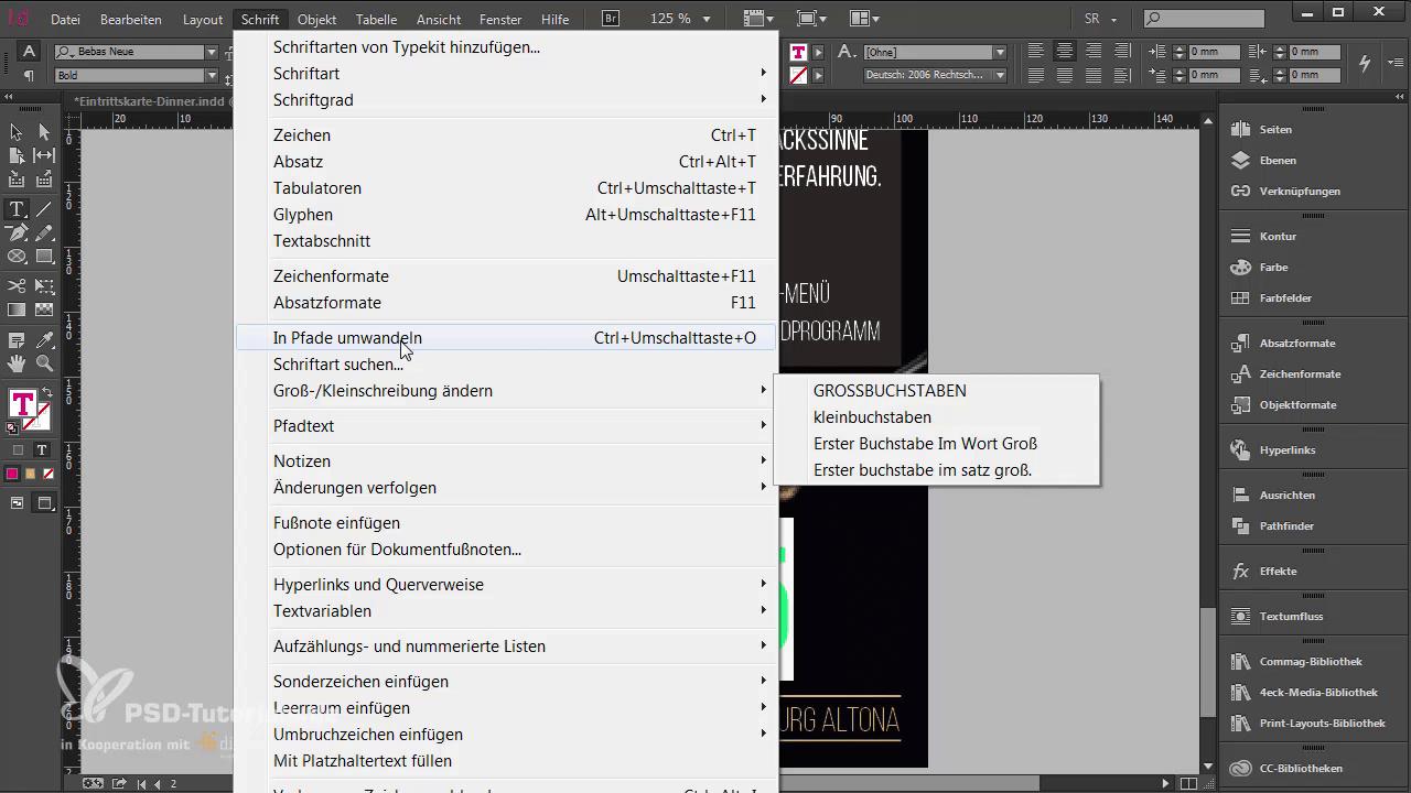 InDesign-Tutorial: Eintrittskarte mit Schwarzlichtfarbe - In Pfade umwandeln