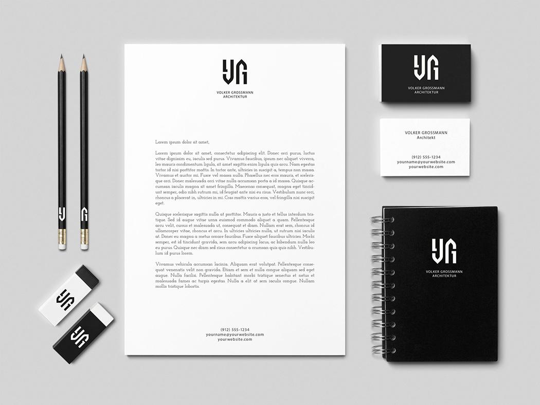 Beispiel für die Anwendung eines Ambigramms für eine Geschäftsausstattung. Das Logo des Architekten Volger Grossmann, gestaltet von Roland Scheil, Grafiker