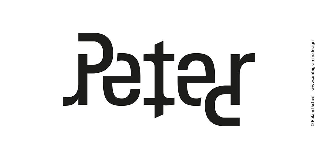 Ambigramm Design Tutorial, Variante 1, Ambigramm für den Namen Peter
