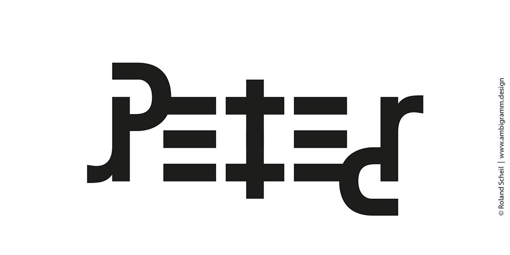 Ambigramm Design Tutorial, so kann ein Ambigramm des Namens Peter aussehen, Variante 2