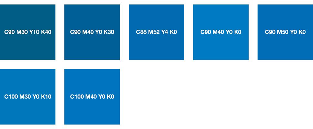 CMYK-Farben: Azurblau und Himmelblau