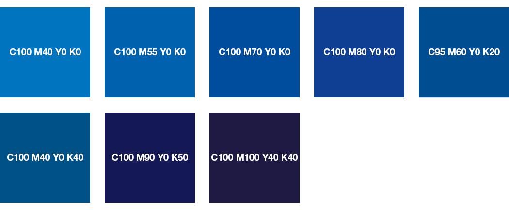 CMYK-Farben: Blau und Nachtblau