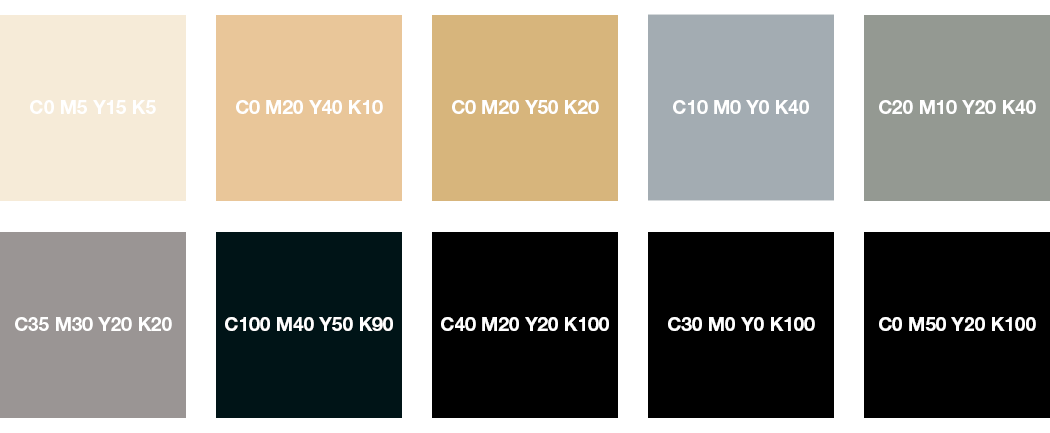 CMYK-Farben: Cremeweiß, Beige, Grau, Schwarz und Tiefschwarz