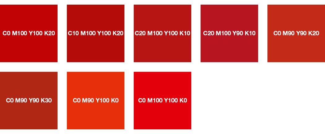 CMYK-Farben: Feuerrot, Signalrot, Korallenrot und Leuchtrot