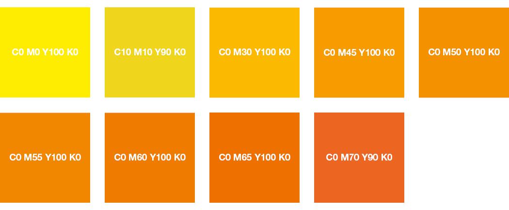 CMYK-Farben: Leuchtgelb, Zitronengelb, Orange und Tieforange
