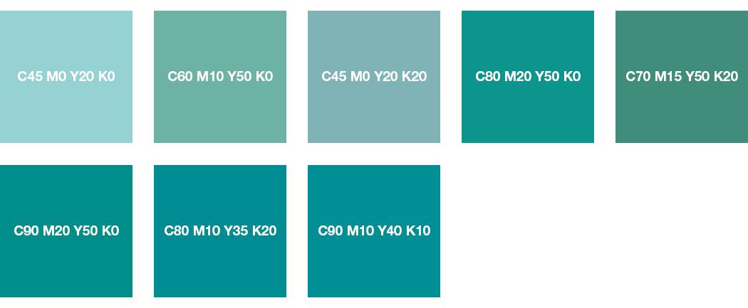 CMYK-Farben: Minttürkis, Mint, Pastelltürkis und Türkis