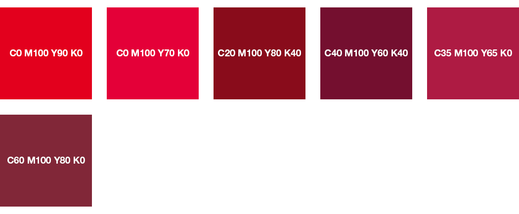 CMYK-Farben: Rot und Weinrot