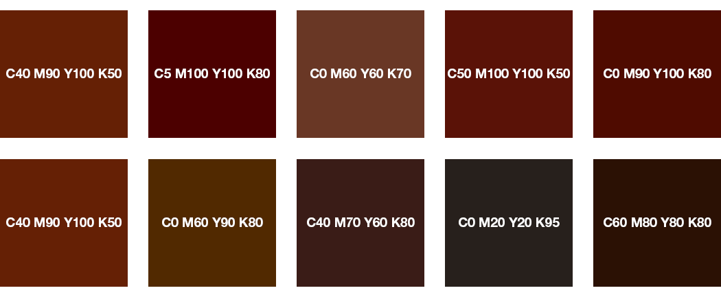 CMYK-Farben: Braun, Rotbraun, Kastanienbraun und Schokobraun