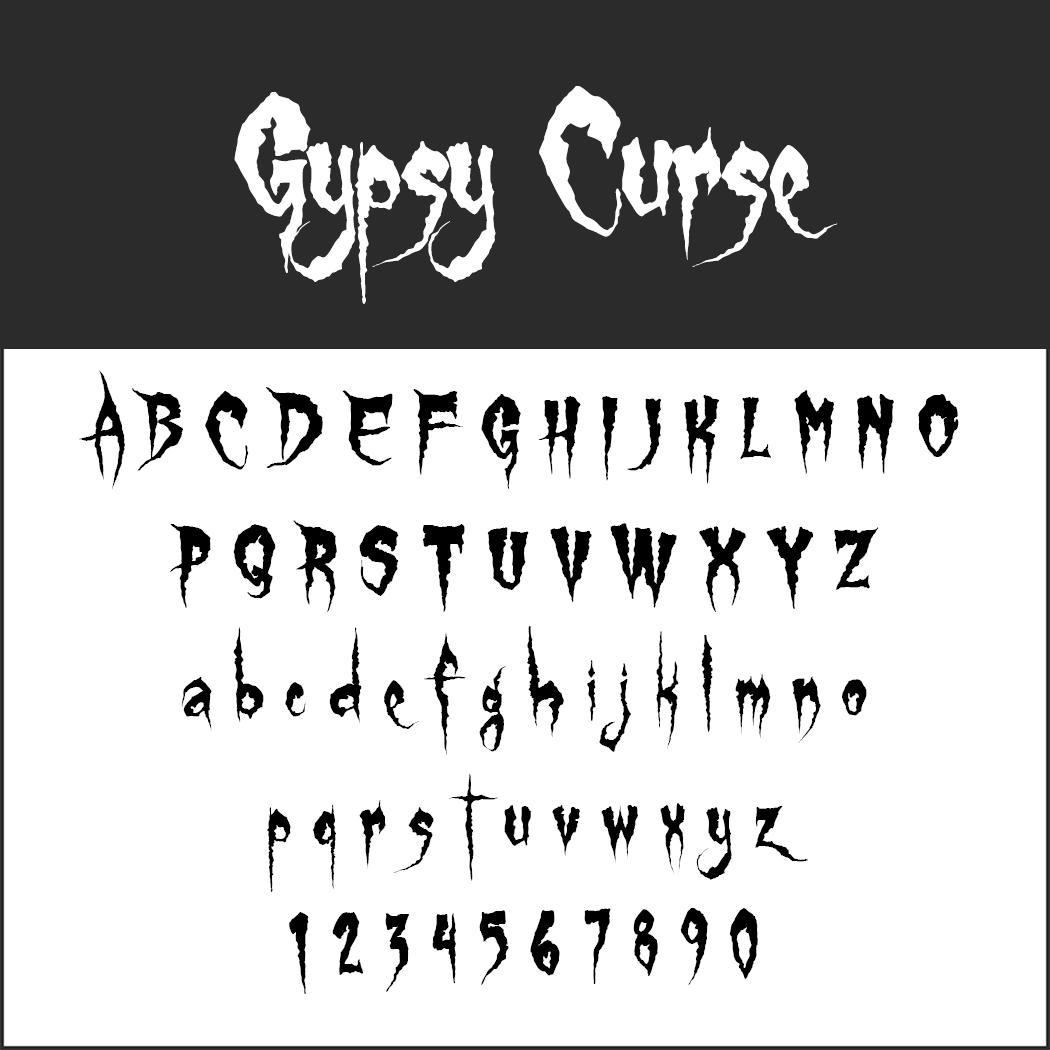 Halloween-Schrift: Gypsy Curse