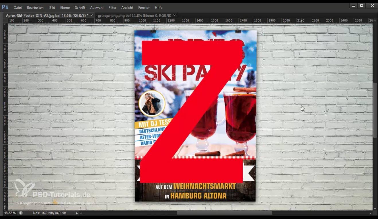 Die wichtigsten Informationen des Plakates sollten auf der Z-Linie platziert werden.