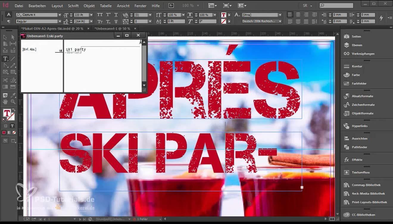 Das rote Feld zeigt an, dass nicht der ganze Text im Textfeld angezeigt wird, sondern ein Übersatz besteht.