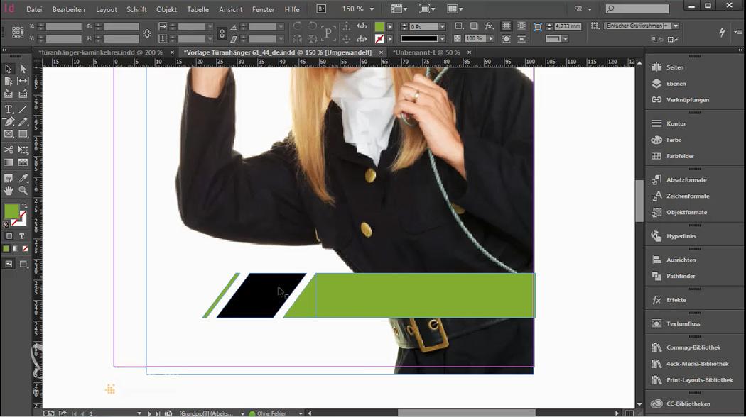 Schwarze und grüne Farbfelder als Hintergrund für den Text