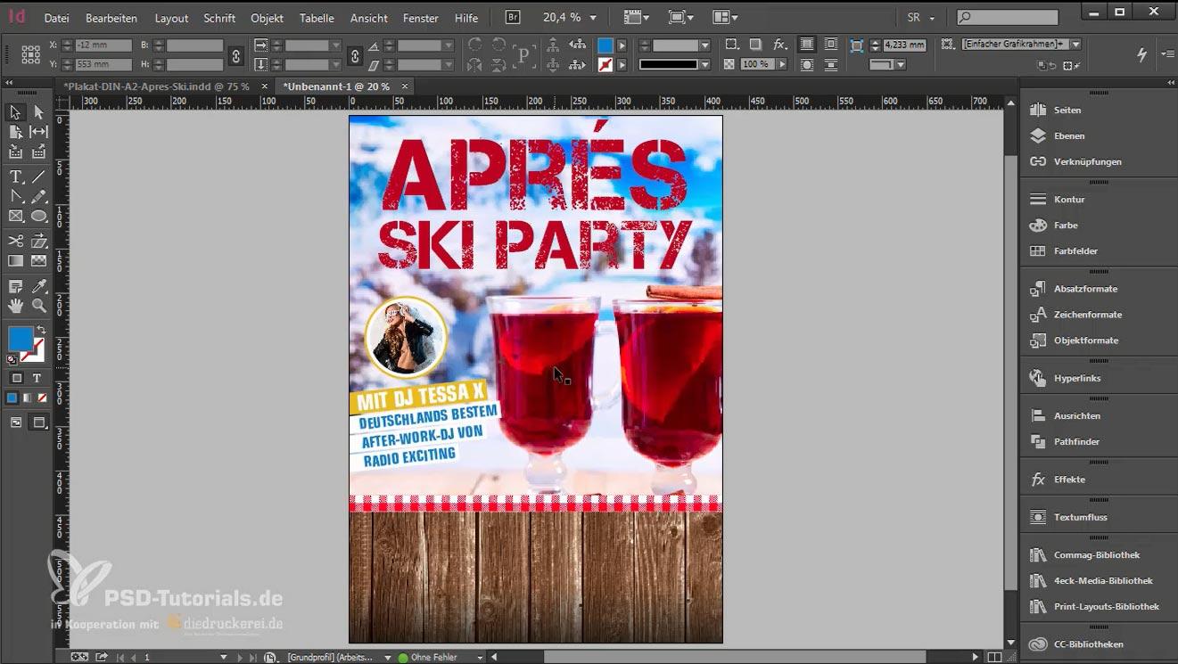 Plakat gestalten, Hintergrund, Headline, Bilder, Textelemente eingefügt