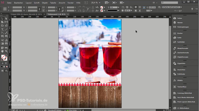 Plakat-Hintergrund ist nun fertig gestaltet. Es enthält eine Holztextur, eine Bordüre mit rot-weißem Karo und eine Winterlandschaft mit zwei Punsch-Gläsern und Zimtstange im Vordergrund.