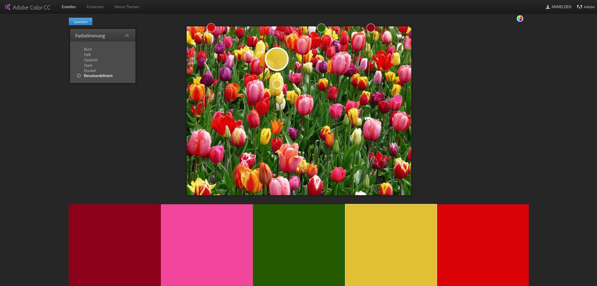 Farbkombination von Bildern herausfinden mit Adobe Color CC