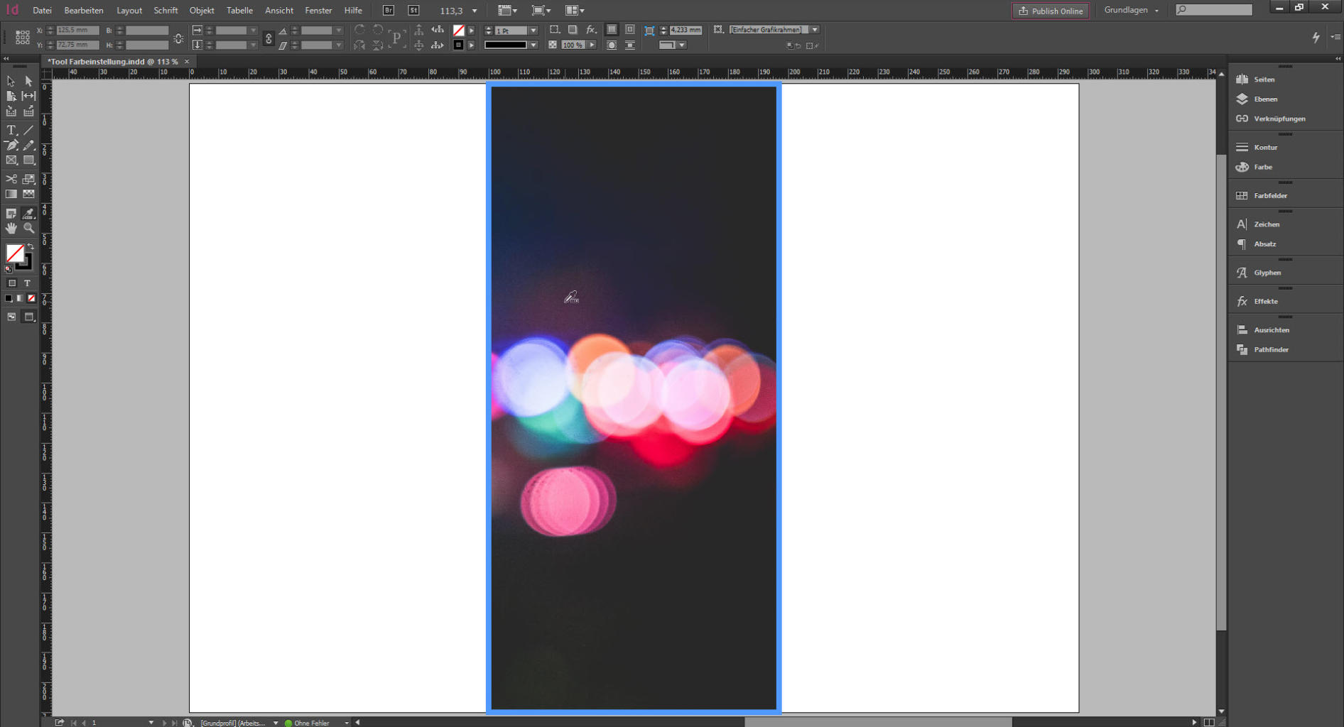 """Werkzeug """"Farbeinstellung"""" (erweiterte Pipette) in Adobe InDesign CC"""