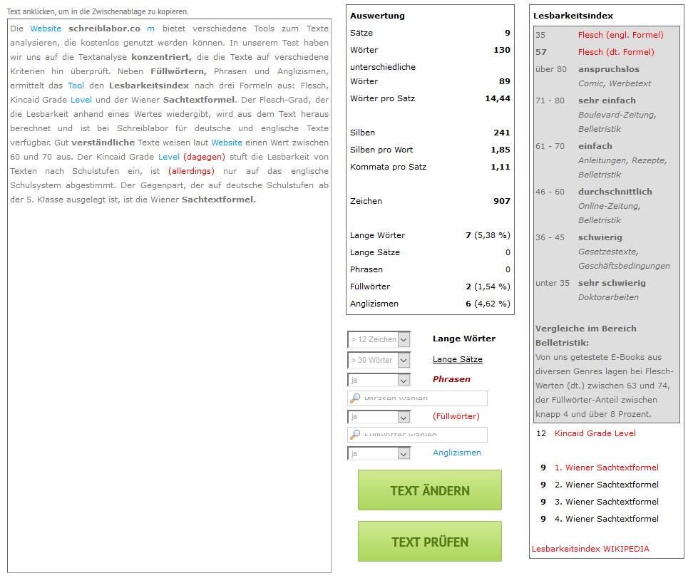 Das Textanalyse Tool von Schreiblabor im Test