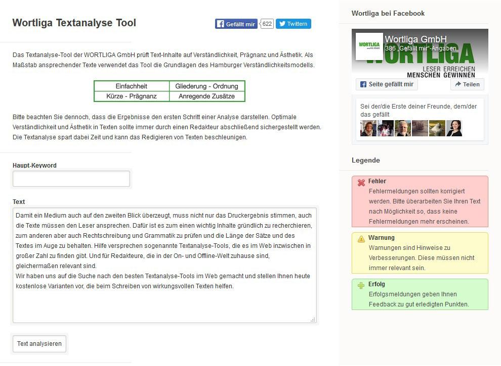 Das Textanalyse Tool von Wortliga im Test
