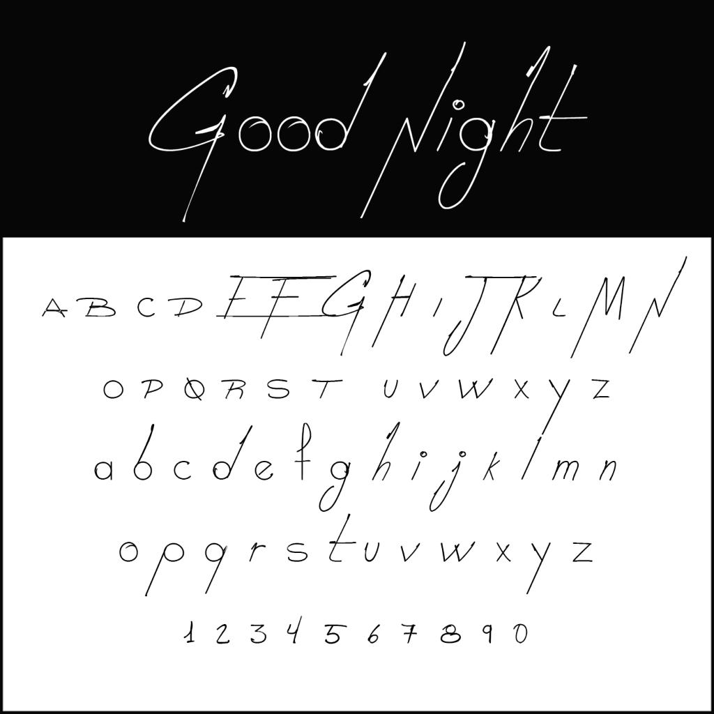 Schnoerkelschrift-Good-Night-diedruckereide
